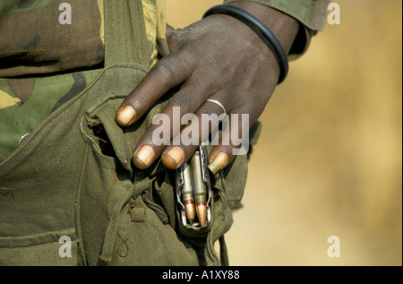 ANGOLA CIVIL WAR AUG 1993 CLOSE UP ON THE HAND OF A SOLDIER - Stock Photo
