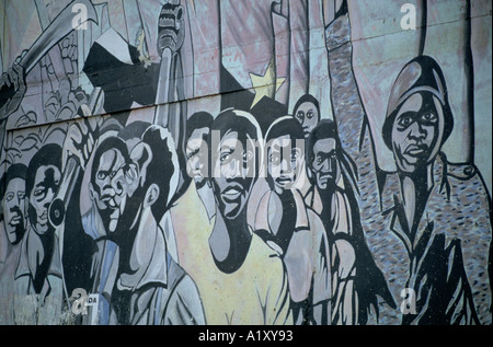 ANGOLA CIVIL WAR AUG 1993 SUGGESTIVE PAINTING ON A WALL - Stock Photo