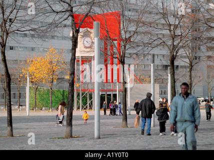 Concrete Utopia, Villette, Paris. - Stock Photo