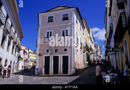 Cobbled streets and colonial architecture, Largo de Pelourinho, Salvador, Bahia, Brazil - Stock Photo