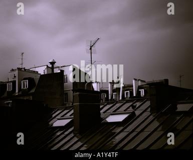 Typical Parisian roof scene. - Stock Photo