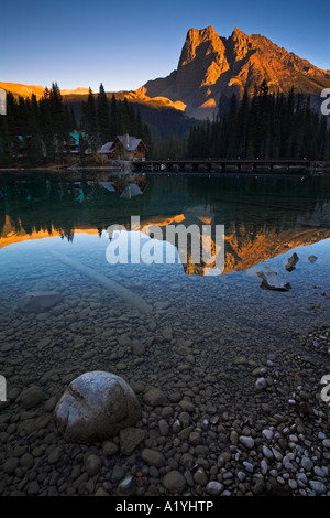 Evening at the shore of Emerald Lake in Yoho National Park - Stock Photo