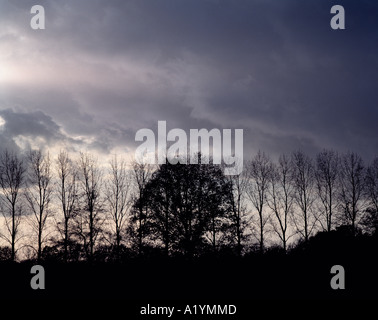 Ray of sunshine breaking through heavy clouds. - Stock Photo