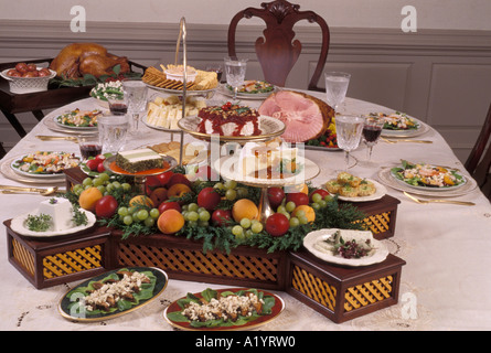 family gathering Sunday Holiday style formal dinner table setting ...