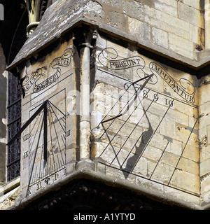 Sundial on the south side of Lincoln Cathedral - Stock Photo