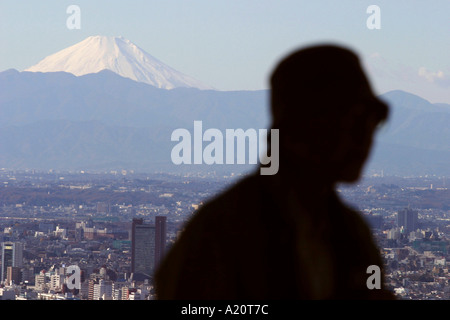 View of Mount Fuji and Tokyo, seen from Roppongi Hills, Tokyo, Japan - Stock Photo