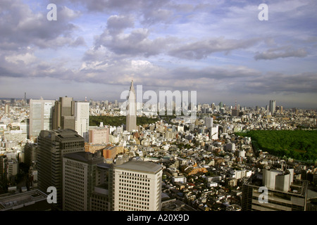 Office buildings in the Shinjuku skyscraper district, Tokyo, Japan. The NTT DoCoMo building nick named Empire State - Stock Photo