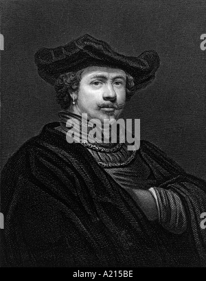 Rembrandt Harmenszoon van Rijn 1606 or 1607 1669 Engraved by Woodman from an original by Rembrandt in Her Majesty - Stock Photo