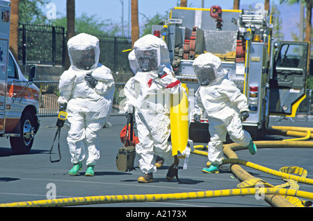 hazmat team headed in bioterrorist attack response training Las Vegas Nevada - Stock Photo
