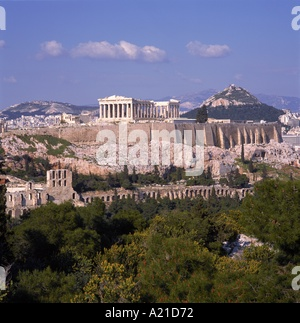 The Parthenon and the Acropolis in Athens Greece R Rainford - Stock Photo
