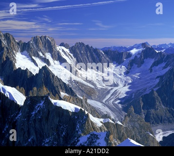 Glacier and mountains with rocky peaks in the Mont Blanc Range near Chamonix the Alps in Haute Savoie France R Rainford - Stock Photo