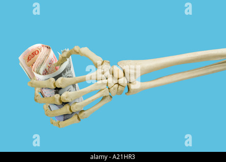 human skeleton left hand holding british fifty 50 pound notes, Skeleton