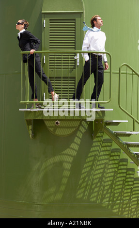 Business People on Wind Turbine Platform - Stock Photo