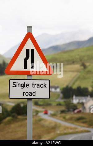 Road Sign on Hill, Isle of Skye, Scotland - Stock Photo