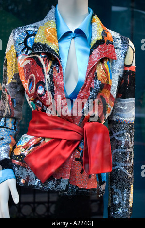 Paris France, Shopping Luxury Brands Shops Detail Shop Window 'Valentine' with 9 000 Euros Jacket on Display Fashion, - Stock Photo