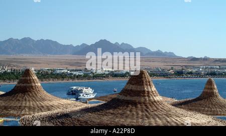 Sinai mountain range in the distance seen from Naama Bay Sharm El Sheikh Egypt - Stock Photo