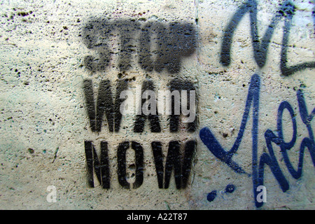 anti war graffiti rome italy - Stock Photo