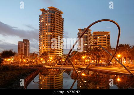 Living Area Diagonal Mar with  park Barcelona Catalonia Spain Europe - Stock Photo