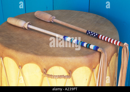 Taos Indian Pueblo drum, Southwest Moccasin and Drum Shop, Taos New Mexico - Stock Photo