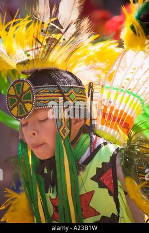 young Male Fancy Dancer Chumash Inter Tribal Powwow Santa Ynez Valley near Santa Barbara California - Stock Photo