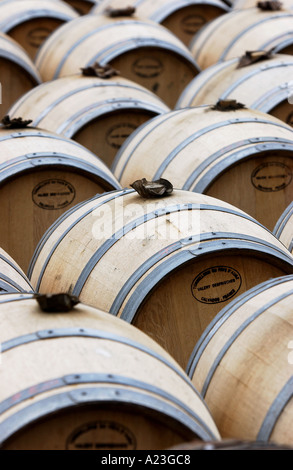 barrels of cider on pass vale farm somerset uk - Stock Photo