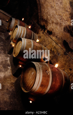 wooden vats or casks in German wine cellar for vinification of organic wine - Stock Photo