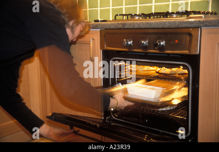 Woman checking a meal of roast potatoes and a nut loaf in the plastic container in the oven - Stock Photo