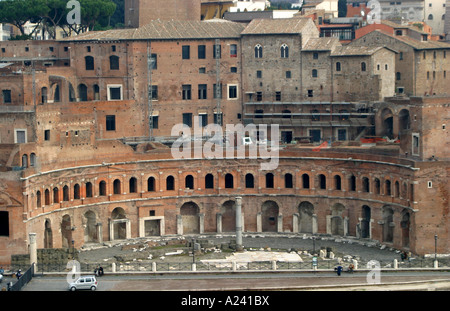 Overview from the Victor Emmanuel  monument of the historic Trajan's Markets in Rome (the World's first shopping - Stock Photo