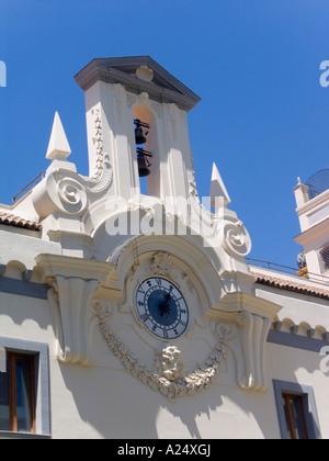 the clock tower of the Spirito Santo in Naples, Campania, Italy, Eu - Stock Photo