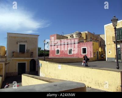 couple of tourist walking in Ventotene, island in italy, mediterranean sea, campania, lazio, Italy, EU - Stock Photo