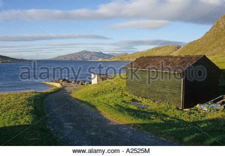 Huisinis jetty on the Isle of Harris Scotland - Stock Photo