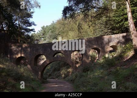 Stone bridge in Oriental Gardens of Lever Park at Rivington near Bolton - Stock Photo