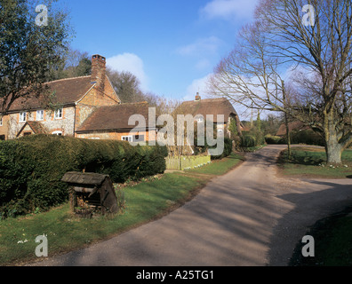 FLINT and THATCHED COTTAGES beside the village green. Chute Cadley Wiltshire England UK - Stock Photo