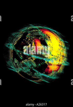 MONTAGE OF SPINNING GLOBE AND BINARY CODE - Stock Photo