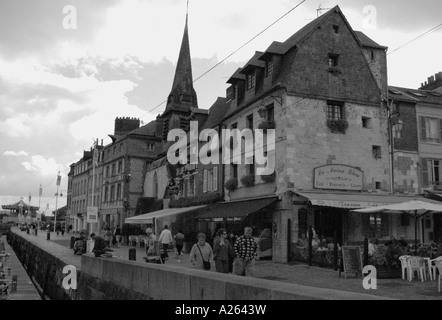 Characteristic View of Honfleur Old Port English Channel La Manche Normandy Normandie North Western France Europe - Stock Photo