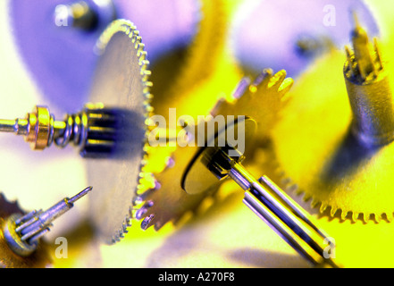 cog gear wheels from a clock - Stock Photo