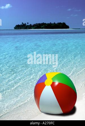 beach ball on tropical Island beach Maldives - Stock Photo