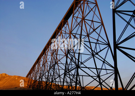 High Level Train Bridge over the Old Man River in Lethbridge Alberta in early winter Historical event in Alberta - Stock Photo