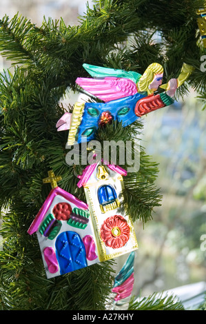 Mexican tin tree Christmas decorations - Stock Photo