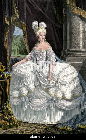 Marie Antoinette Queen of France wife of Louis XVI. Hand-colored woodcut - Stock Photo