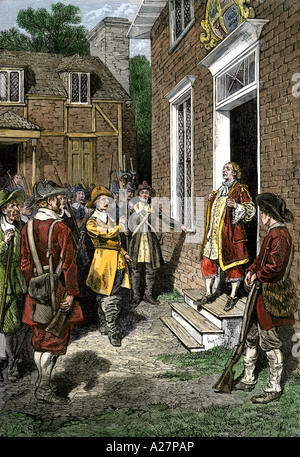Governor Berkeley facing angry colonists during Bacons Rebellion in Jamestown 1676. Hand-colored woodcut - Stock Photo