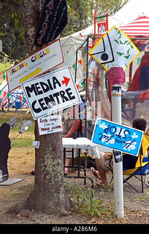Mass of Hand painted quirky signs on street corner, Woodford Folk Festival, Queensland, Australia. DSC 8002