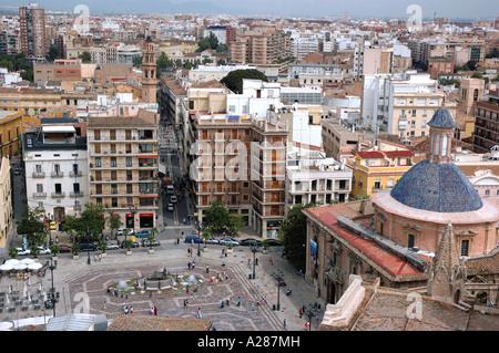 Panoramic Valencia atop Miguelete Micalet Comunitat Comunidad Valenciana Costa del Azahar España Spain Spanish Iberia - Stock Photo