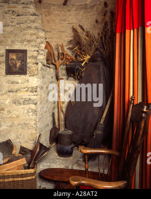 Old country tools rustic style room corner interior decoration display - Stock Photo