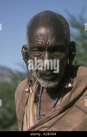 Portrait of Maasai elder or old man Kenya East Africa - Stock Photo