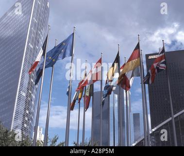 European Union Flags, Canary Wharf, London, England, United Kingdom - Stock Photo