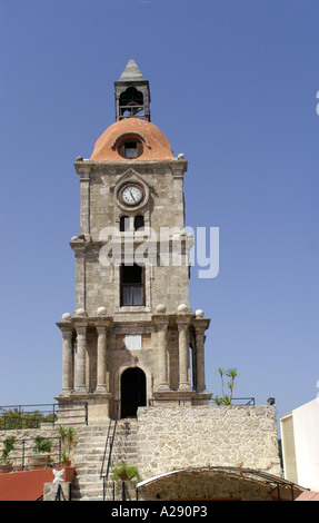 Roloi clock tower in Rhodes Old Town Rhodes Dodecanese ...