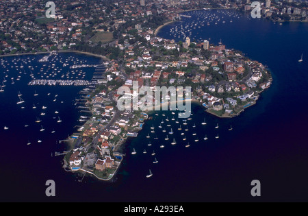 Aerial view of sailboats and homes in elite housing area of Point Piper and Rose Bay in Sydney Harbor Sydney Australia - Stock Photo