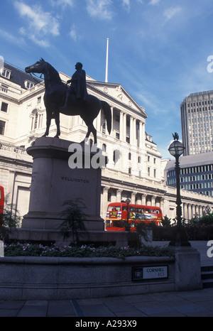 Equestrian statue of Duke of Wellington outside Bank of England London England UK Europe - Stock Photo