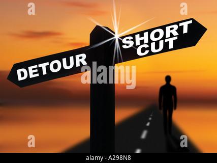 short cut detour road sign - Stock Photo